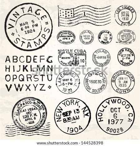 Vector Postage Stamp Set. Great for vintage designs. - stock vector