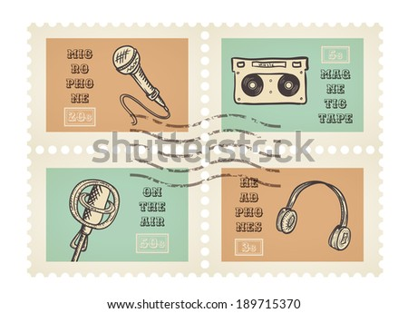 Vector postage stamps of retro music equipment theme, decorative set for scrapbooking - 4 separated elements - stock vector