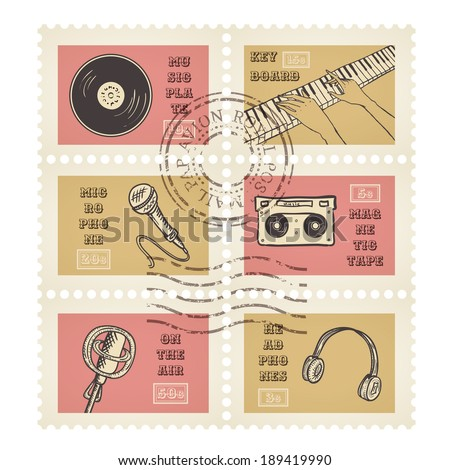 Vector postage stamps retro music equipment theme, canceled, decorative set for scrapbooking  - stock vector