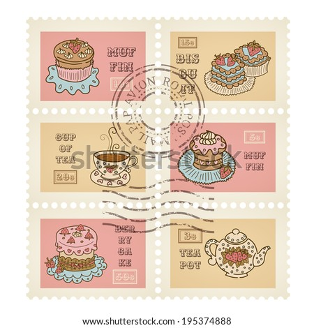 Vector postage stamps retro pastry theme, canceled, decorative 6 stamps set for scrapbooking - stock vector