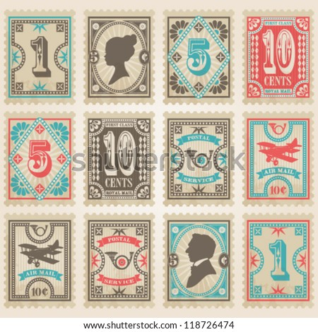 Vector postage stamps set. - stock vector