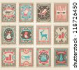 Vector postage stamps set. Christmas collection - stock photo