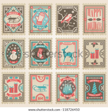 Vector postage stamps set. Christmas collection - stock vector