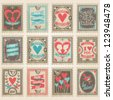 Vector postage stamps set. Valentine's day collection - stock