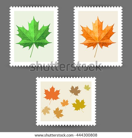 Vector postage stamps with maple leaf icons - stock vector