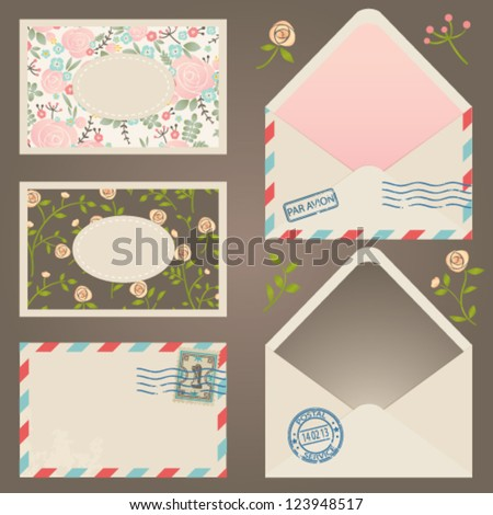 Vector postal collection. Envelopes and postcards set