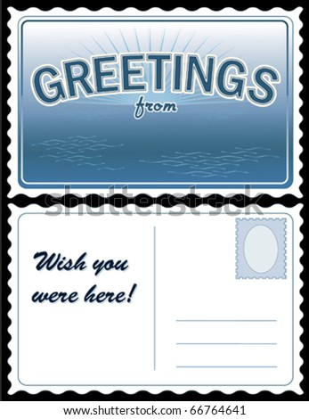 """vector - POSTCARD: Add Location.  Full size 8.5"""" x 5.5"""", blue. Front: """"Greetings from..."""" add your own text or art. Back: copy space for message & address. EPS8 organized in groups for easy editing. - stock vector"""