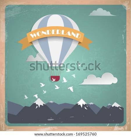 Vector postcard air balloon. Flat vintage design - stock vector