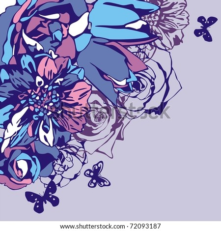 vector postcard consist of flowers on violet background. Vector illustration