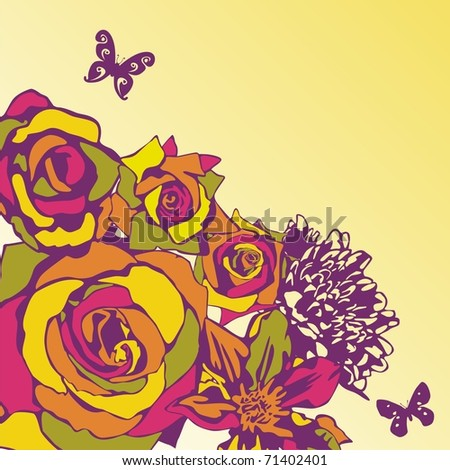 vector postcard consist of flowers on yellow background. Vector illustration