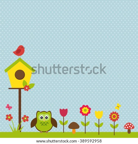 Vector postcard frame for spring theme. Birds in the spring plants, next to the birdhouse on a delicate blue background.