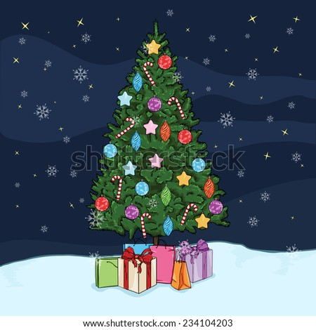 Vector Postcard Illustration - Christmas Tree with Decorations and Gifts at the Nights