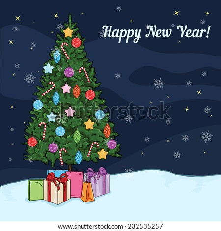 Vector Postcard Illustration - Christmas Tree with Decorations and Gifts at the Nights. With Happy New Year Text and Place for Your Text.