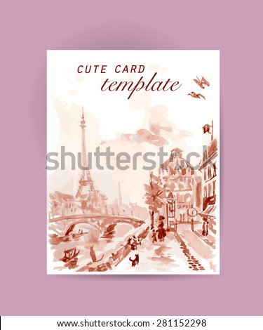 Vector postcard Paris template with text space. Memory card design, love theme, Tour d'Eiffel. - stock vector