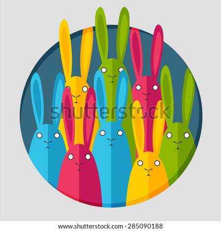 Vector postcard with rabbits - stock vector