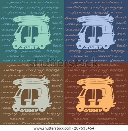 Vector poster about surfing - silhouette of tuk-tuk with surfboards. - stock vector