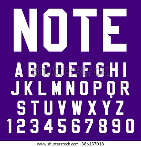 Vector Poster Font. Condensed typeface, bold letters and digits with shadow