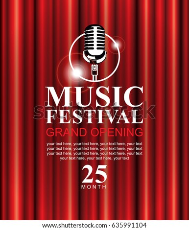 vector poster for a music festival with a red velvet curtain microphone and the words - Velvet Curtain