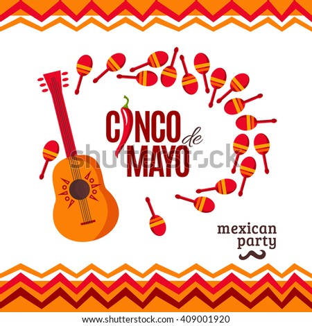 Vector poster for Cinco De Mayo celebration background. Mexico vector placard. Cinco De Mayo holiday banner. Fiesta ad, signage, card, invitation. Cinco de mayo design for Mexican party - stock vector