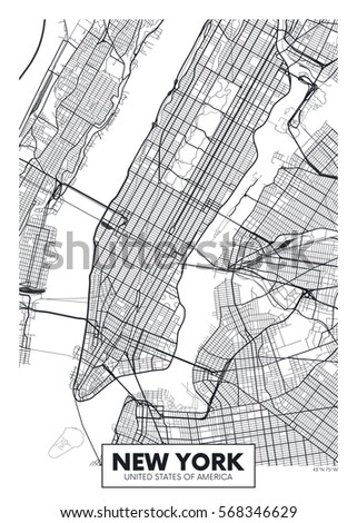 Vector Poster Map City New York Stock Vector Shutterstock - New york city map drawing