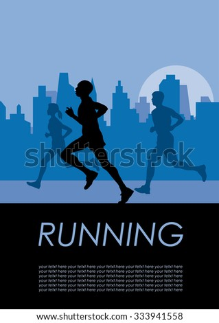 Vector poster runners in the city - stock vector