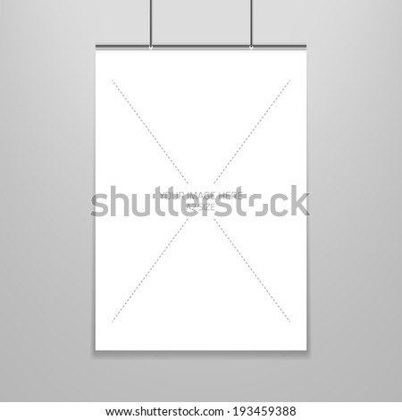 Vector poster template of a blank paper sheet in frame, placed on the wall. - stock vector