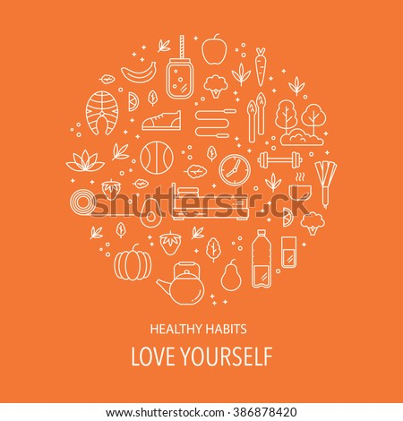 Vector poster with diet and healthy lifestyle elements. Style background â?? healthy lifestyle, habits and healthy food. Motivational concept with diet and fitness theme. - stock vector