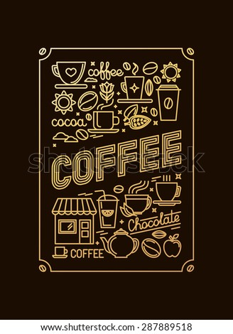 Vector poster with golden foil illustration - decoration or card template for coffee house and shop - icons and signs related to coffee and tea - stock vector
