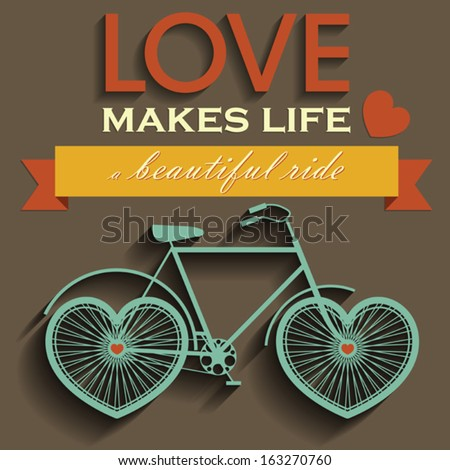 Vector poster with heart-shaped wheels bicycle - stock vector