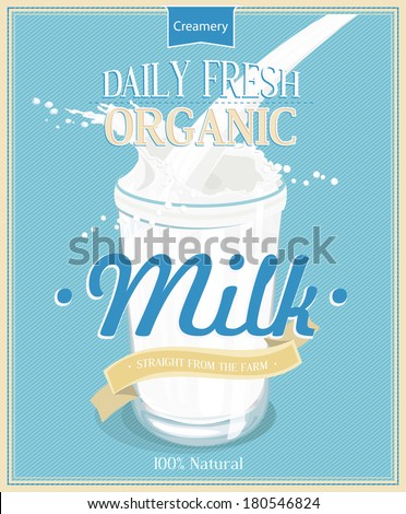 Vector poster with milk. Glass of milk. Pouring Milk Splash, Milk wave, blue background, vector. Vintage style. - stock vector