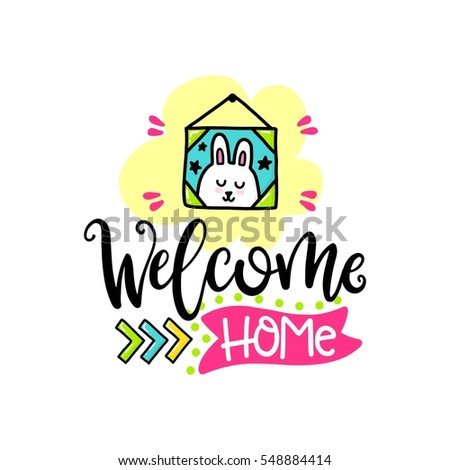 Vector Poster With Phrase, Rabbit And Decor Elements. Typography Card,  Color Image.
