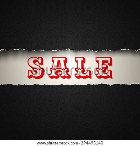 Vector poster with sale on torn paper - stock vector