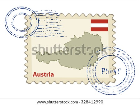 Vector postmark with map of Austria Including: flag of Austria. - stock vector