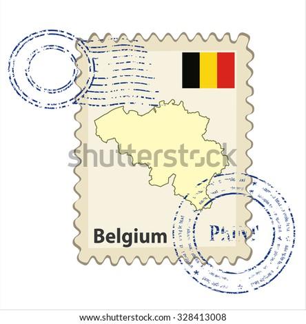 Vector postmark with map of Belgium Including: flag of Belgium. - stock vector