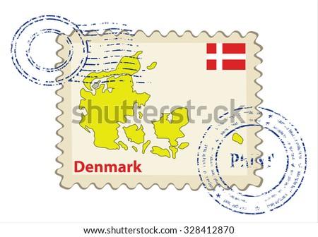 Vector postmark with map of Denmark Including: flag of Denmark. - stock vector