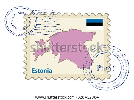 Vector postmark with map of Estonia Including: flag of Estonia. - stock vector