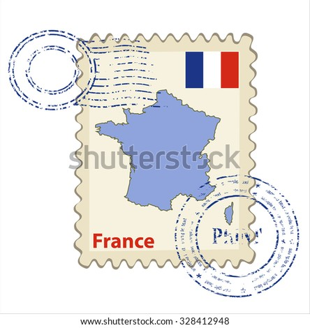 Vector postmark with map of France Including: flag of France. - stock vector