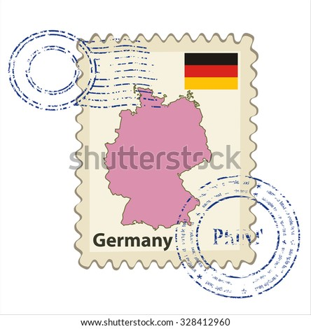 Vector postmark with map of Germany Including: flag of Germany. - stock vector