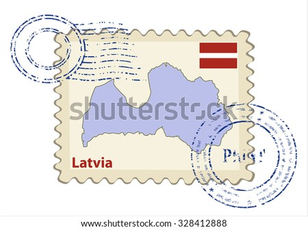 Vector postmark with map of Latvia Including: flag of Latvia. - stock vector