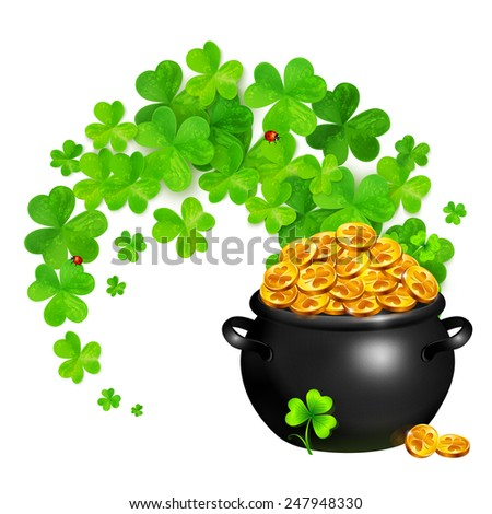 Vector pot of magic gold with clovers swirl - stock vector