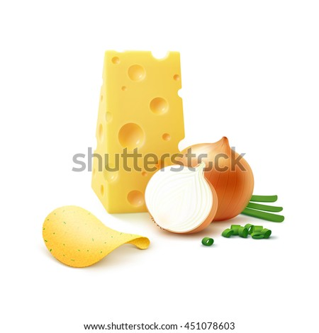 Vector Potato Crispy Chips with Cheese and Onion Close up Isolated on White Background