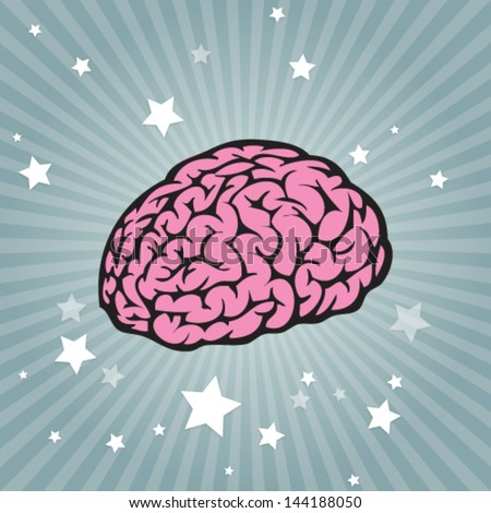 Vector power brain on striped background - stock vector