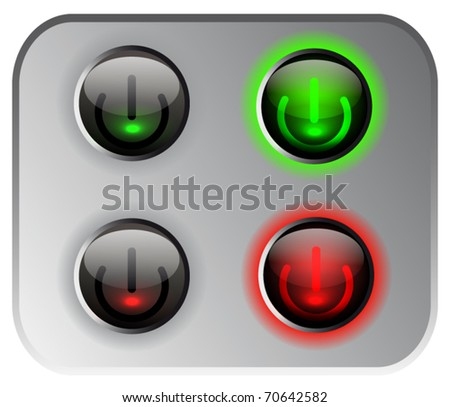 Vector power button in on and off position. - stock vector