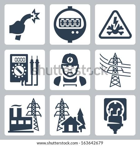 Vector Power Industry Icons Set Bared Stock-vektorgrafik 163642679 ...