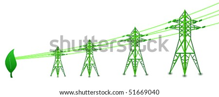 Vector power lines and electric pylons drawing energy from leaf - stock vector