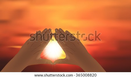 Vector Praying Hands Forming Triangle, Eps10 Vector, Gradient Mesh and Transparency Used, Raster Version Available - stock vector