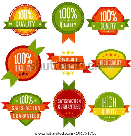 Vector Premium and High Quality labels, can be used for e commerce projects, stores and shops, sale and promotions - stock vector