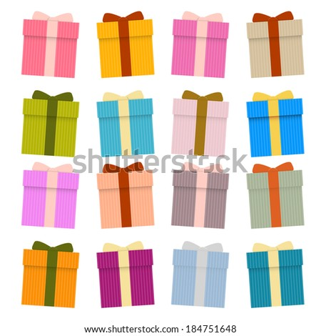 Vector Present Boxes, Gift Boxes Set Isolated on White Background - stock vector