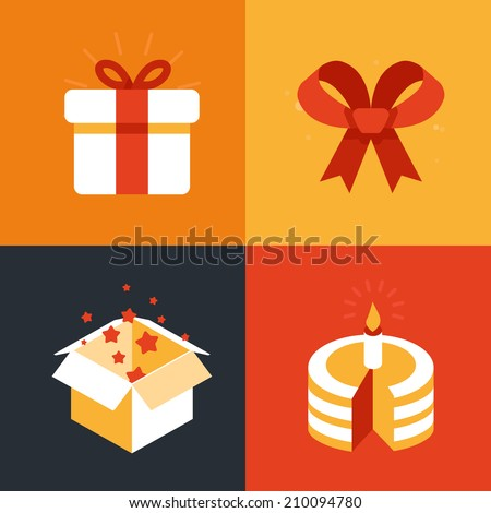 Vector present emblems and signs - gift illustration in flat style - stock vector