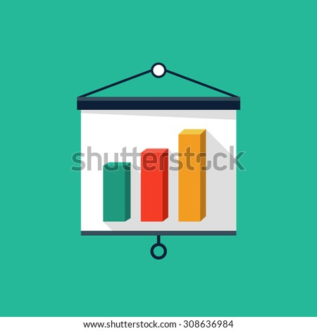 Vector presentation board and chart icon